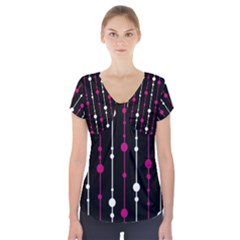 Magenta white and black pattern Short Sleeve Front Detail Top