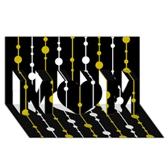 yellow, black and white pattern MOM 3D Greeting Card (8x4)