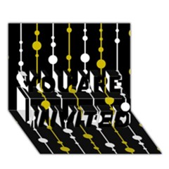 yellow, black and white pattern YOU ARE INVITED 3D Greeting Card (7x5)
