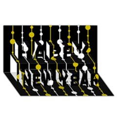 yellow, black and white pattern Happy New Year 3D Greeting Card (8x4)