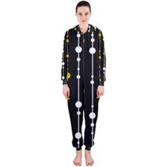 yellow, black and white pattern Hooded Jumpsuit (Ladies)