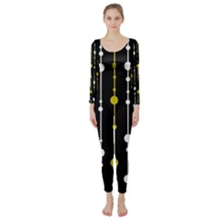 yellow, black and white pattern Long Sleeve Catsuit