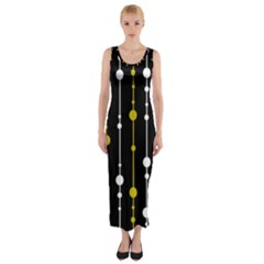yellow, black and white pattern Fitted Maxi Dress