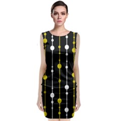 Yellow, Black And White Pattern Classic Sleeveless Midi Dress