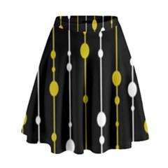 yellow, black and white pattern High Waist Skirt