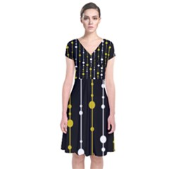 yellow, black and white pattern Short Sleeve Front Wrap Dress