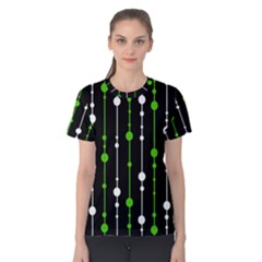 Green, white and black pattern Women s Cotton Tee