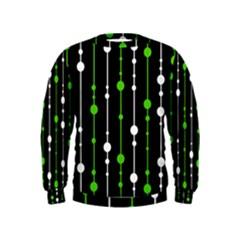 Green, White And Black Pattern Kids  Sweatshirt
