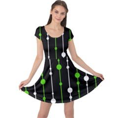 Green, white and black pattern Cap Sleeve Dresses