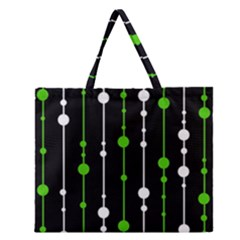 Green, White And Black Pattern Zipper Large Tote Bag