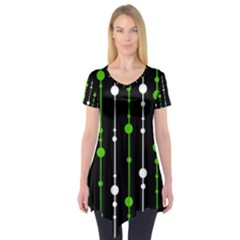 Green, white and black pattern Short Sleeve Tunic