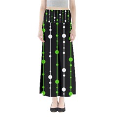 Green, white and black pattern Maxi Skirts