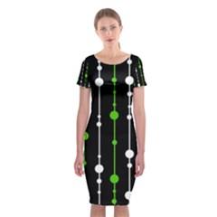 Green, white and black pattern Classic Short Sleeve Midi Dress