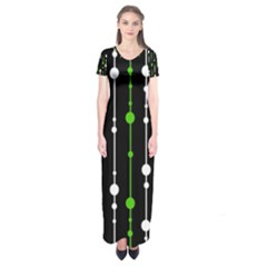 Green, White And Black Pattern Short Sleeve Maxi Dress