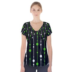 Green, white and black pattern Short Sleeve Front Detail Top