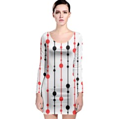 Red, black and white pattern Long Sleeve Bodycon Dress