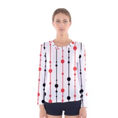 Red, black and white pattern Women s Long Sleeve Tee