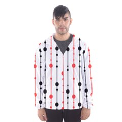 Red, black and white pattern Hooded Wind Breaker (Men)