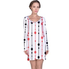 Red, black and white pattern Long Sleeve Nightdress