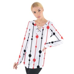 Red, black and white pattern Women s Tie Up Tee