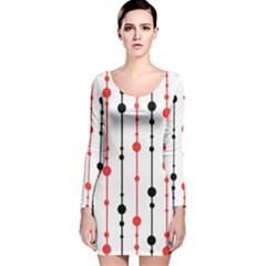 Red, black and white pattern Long Sleeve Velvet Bodycon Dress