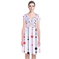 Red, black and white pattern Short Sleeve Front Wrap Dress
