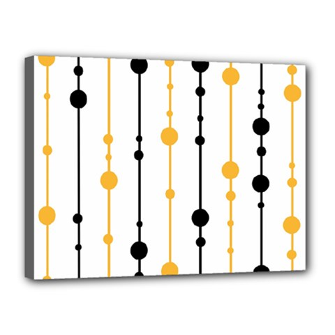Yellow, black and white pattern Canvas 16  x 12