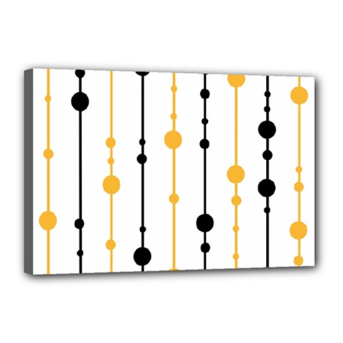 Yellow, black and white pattern Canvas 18  x 12