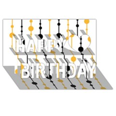 Yellow, black and white pattern Happy Birthday 3D Greeting Card (8x4)