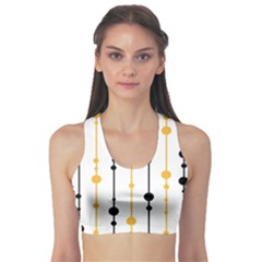 Yellow, black and white pattern Sports Bra