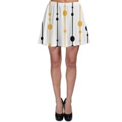 Yellow, black and white pattern Skater Skirt