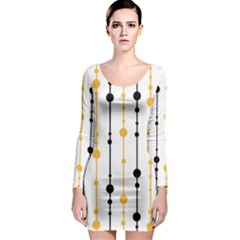 Yellow, black and white pattern Long Sleeve Bodycon Dress