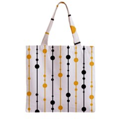 Yellow, black and white pattern Zipper Grocery Tote Bag