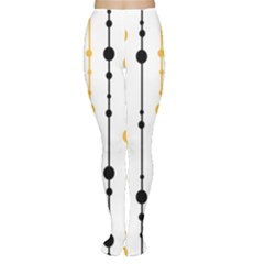Yellow, black and white pattern Women s Tights