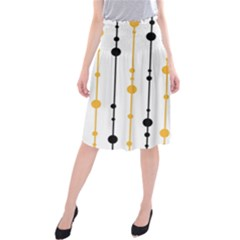 Yellow, black and white pattern Midi Beach Skirt