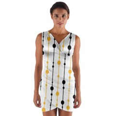 Yellow, black and white pattern Wrap Front Bodycon Dress