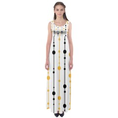 Yellow, black and white pattern Empire Waist Maxi Dress