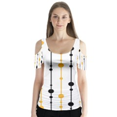 Yellow, black and white pattern Butterfly Sleeve Cutout Tee