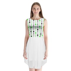 Green pattern Sleeveless Chiffon Dress