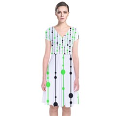 Green Pattern Short Sleeve Front Wrap Dress