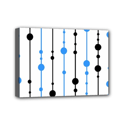 Blue, white and black pattern Mini Canvas 7  x 5