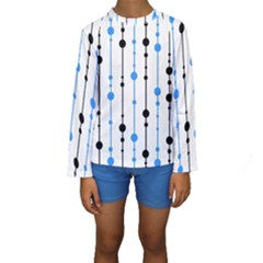 Blue, white and black pattern Kid s Long Sleeve Swimwear