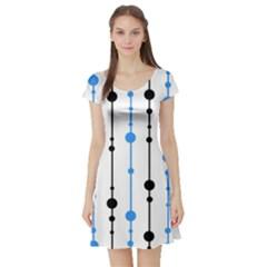 Blue, white and black pattern Short Sleeve Skater Dress