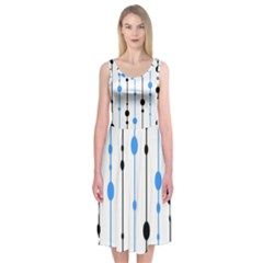 Blue, White And Black Pattern Midi Sleeveless Dress