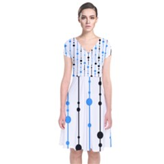 Blue, white and black pattern Short Sleeve Front Wrap Dress