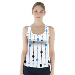 Blue, white and black pattern Racer Back Sports Top
