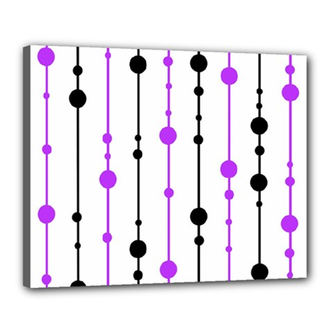 Purple, white and black pattern Canvas 20  x 16
