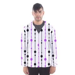 Purple, white and black pattern Hooded Wind Breaker (Men)