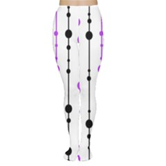 Purple, white and black pattern Women s Tights