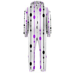 Purple, white and black pattern Hooded Jumpsuit (Men)